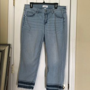 Lane Bryant distressed jean capris